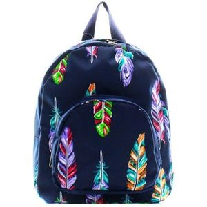 NAVY CANVAS FEATHER MINI BACKPACK/BOOK BAG!